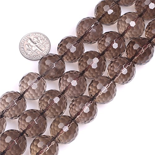 Faceted Strand - 16mm Round Faceted Smoky Quartz Beads Strand 15 Inch Jewelry Making Beads