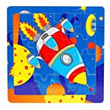 Kids Toddler Baby 16 Piece Jigsaw Cartoon Animals Wooden Puzzle Toys Educational Training Developmental Intelligence Training Toy Preschool Learning Growing Experiment Game Gift 1-3 Years (E)