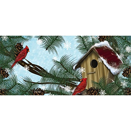 - Evergreen Birdhouse Cardinals Sassafrass Decorative Mat Insert, 10 x 22 inches