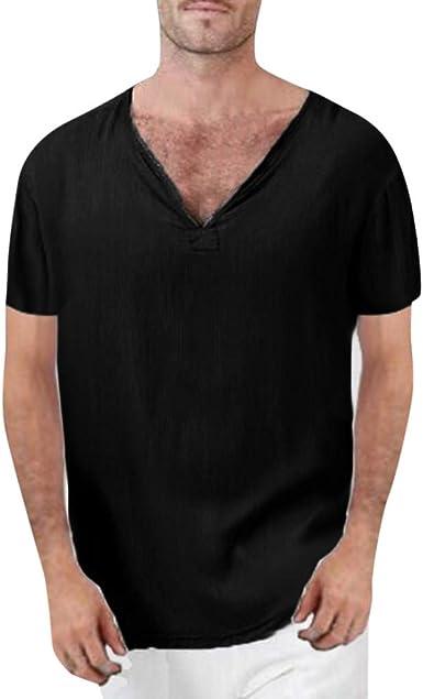 Summer Men/'s Roll Sleeve Linen V Neck Shirt Loose Baggy Holiday T Shirt Tops Tee