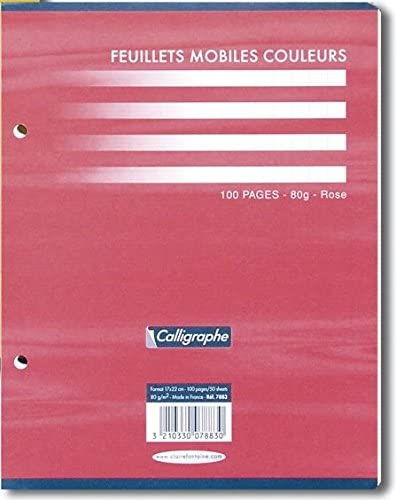 170 x 220 mm Blue 100 Pages 80g Calligraphe Loose-Leaf Coloured Paper S/éy/ès Ruled