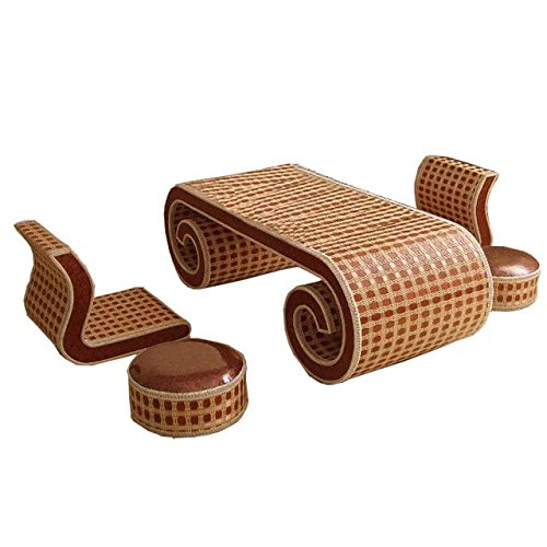 Natural bamboo - rattan wicker desk and chair set / table and chair suite / settee / seater / couch / chair / coffee table / tea table / teapoy / side table / end table