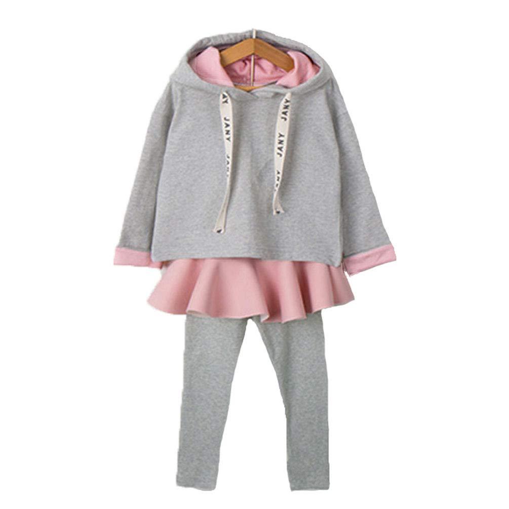 JIANLANPTT Fashion Kid Girls Hooded Sweatshirt Skirted Legging Pant Outfits Set