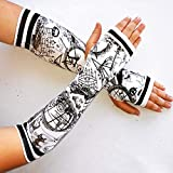 Monochrome Black and White NBC Arm Warmers Gloves Nightmare Before Halloween