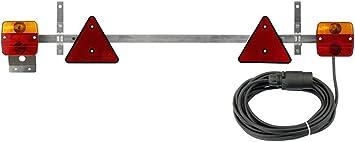 Adluminis Stangenleuchte Anhänger Rückleuchte Mit Kabel Für Straßenverkehr Zugelassen 7 5m Kabel Stecker 7 Polig Anhängerbeleuchtung Mit Ausziehbarer Teleskopstange Traversenleuchte Auto