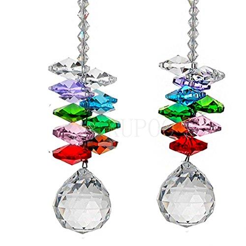 KUPOO Glass Crystal Ball Prism Rainbow Maker Chakra Hanging Suncatcher Window Sun Cacther for Gift Pack of 2??Rainbow Suncatcher (Glass Crystal Ball) ()