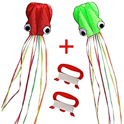 Hengda Kite-Pack 2 Colors(Red&Green)Beautiful Large Easy Flyer Kite for Kids-software octopus-It's BIG! 31 Inches Wide with Long Tail 157 Inches Long-Perfect for Beach or Park by Hengda kite
