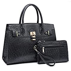 Dasein Fashion Padlock Handbag Purse with Wallet Set!1.New Arrival Handbag Collection. Trendy and convenient. You can use them together or seperately. Suitable for everyday use.2.Rich and nice colors are especially suitable for most of young ...
