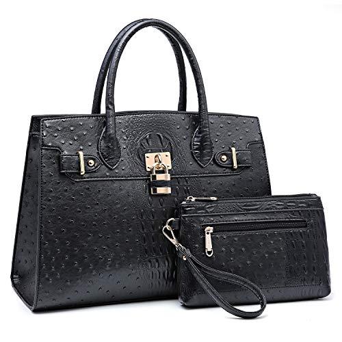Women Handbag Designer Purse Fashion Ladies Shoulder Bag Top Handle Satchel Bag  with Pouch-black Ostrich Leather