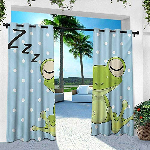 (leinuoyi Cartoon, Sun Zero Outdoor Curtains, Sleeping Prince Frog in a Cap Polka Dots Background Cute Animal World Kids Design, Outdoor Privacy Porch Curtains W96 x L96 Inch Green Blue)