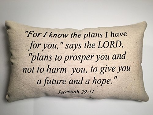 For I Know the plans, Jeremiah 29:11, Scripture, Christian, Lumbar Pillow, Black and Canvas Beige, Inspiration, Hope, Plans, Home Decor