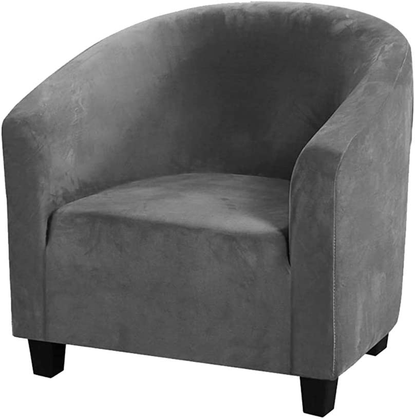 GULI Velvet Tub Chair Covers for Armchairs, Club Chair Slipcover, Wing Back Covers High Stretch Sofa Covers Spandex Plush Seat Covers Furniture Protector Removable Washable for Living Room (Dark grey)