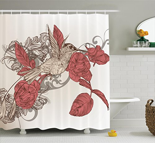 Ambesonne Hummingbirds Decorations Collection, Hummingbird on Rose Flower Branch Ornamental Vintage Style Pattern, Polyester Fabric Bathroom Shower Curtain Set with Hooks, Ivory Salmon Brown (Set Hummingbird)