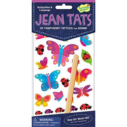 Peaceable Kingdom Jean Tats Butterflies and Ladybugs Temporary Tattoos for Fabric