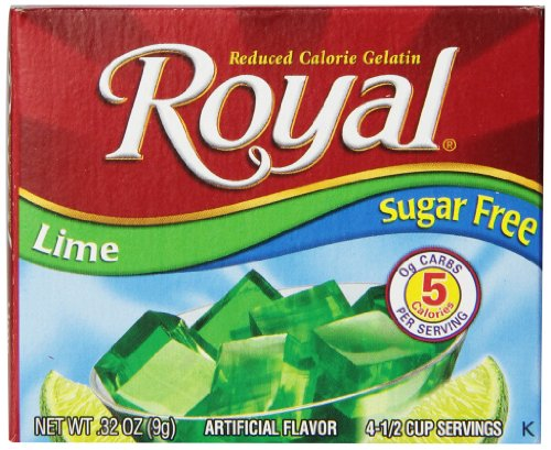 Royal Lime Gelatin Dessert Mix, Sugar Free and Carb Free (12 - .32oz Boxes)