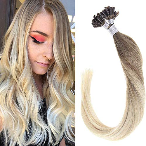 Light Platinum 1 - LaaVoo 16 inch Fusion Remy Straight Hair Exensions Highlight Light Brown to Platinum Blonde Nail U-Tip Human Hair Extensions Pre Bonded 1g/s 50g/50strands