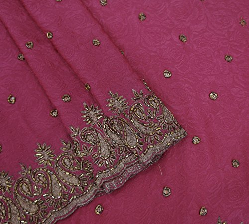 [Vintage Indian Saree Georgette Woven Magenta Used Craft Sari Sarong Fabric 5YD] (Bollywood Party Decorations)
