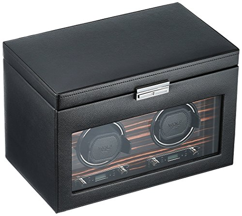WOLF 457256 Roadster Double Watch Winder with Cover and Storage, Black ()