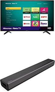 Hisense 40-Inch Class H4 Series LED Roku Smart TV with Alexa Compatibility (40H4F, 2020 Model) + Hisense 2.1 Channel Sound Bar Home Theater System with Bluetooth (Model HS214)