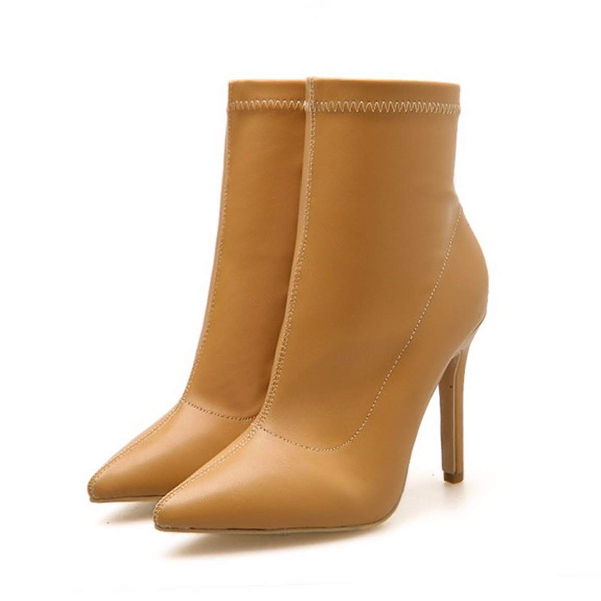 LBTSQ-Mode Damenschuhe Temperament Kurze Stiefel High 10Cm 10Cm 10Cm Seite Reißverschluss Dünne Sohle Martin Stiefel Spitzer Kopf Nackt Stiefel. 3d2662