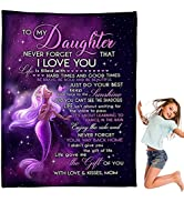 CHAOMIC Personalized Throw Blanket to My Daughter Gifts from Mom-I Love You Christmas Birthday Th...