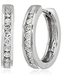 14k White Gold Channel-Set Diamond Hoop Earrings (1/3 cttw, H-I Color, I1-I2 Clarity)