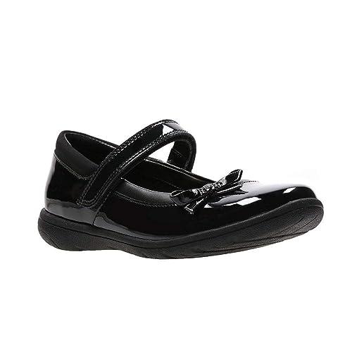 Clarks 3491 56F Venture Star JN Black Patent Kids School Shoes