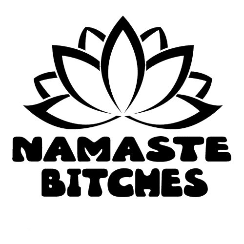 (Namaste Bitches Funny Yoga Decal 2 Pack Vinyl Sticker|Cars Trucks Vans Walls Laptop| BLACK |3.5 x 3 in|CCI1315 )