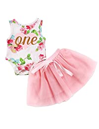 i-Auto Time First Birthday Baby Girl Tutu Dress Floral Romper Skirt Outfits Clothes