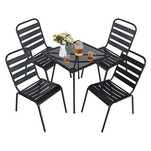(MF STUDIO 5 Piece Black Metal Outdoor Backyard Bistro Tea Set Steel Mesh Frame Slat Seat Patio Furniture Set, 4 Dining Arm Chairs with Angle Back and Square Metal Mesh Coffee Table, Black)