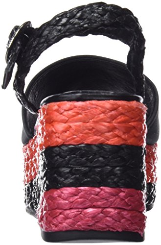 Sixtyseven Taike, Sandalias con Plataforma Para Mujer Varios colores (Satin Negro / Raffia Negro)