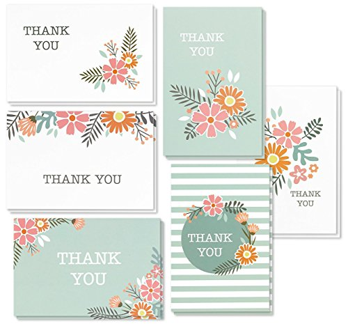Best Paper Greetings Thank You Cards - 48-Count Thank You Notes, Bulk Thank You Cards Set - Blank on The Inside, Feminine Floral Flower Design - Includes Thank You Cards and Envelopes, 4 x 6 Inches