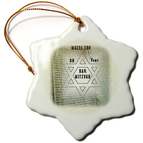 3dRose orn_80494_1 Mazel tov on Your Bar Mitzvah on torah on Ancient Paper-Snowflake Ornament, 3-Inch, Porcelain