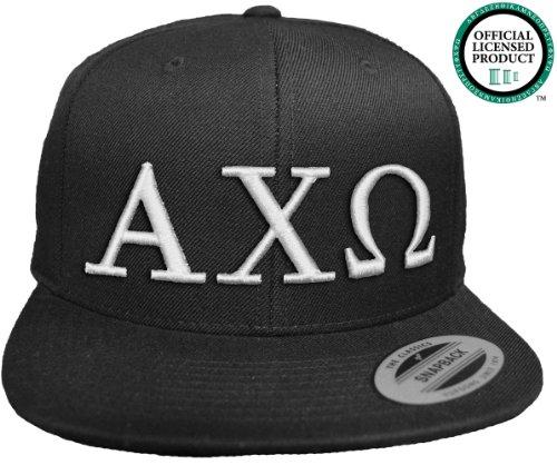 ALPHA CHI OMEGA Flat Brim Snapback Hat White Letters / AXO | Alpha Chi | Sorority Cap