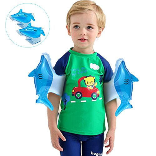 UUFFOO Inflatable Swim Arm Bands Water Wings Floatation Sleeves Cartoon Shark Swimming Rings Tube Trainers Armbands Pool Floats Toys For Kids Age 2 Years And Up
