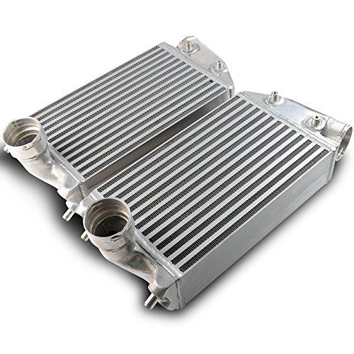 (For Porsche 996 997 01-09 TT TURBO Twin Left & Right Aluminium T Intercoolers Pair Kit 2002 2003 2004 2005 2006 2007 2008 Silver)