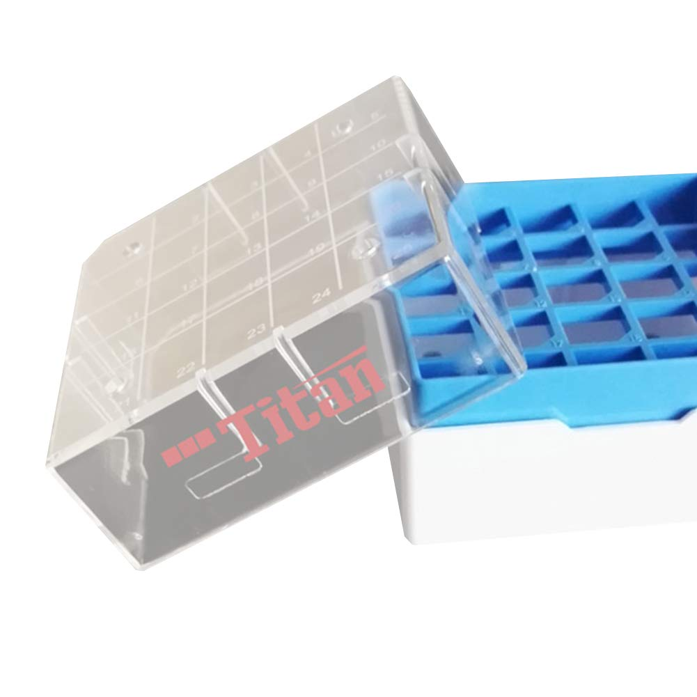 Adamas-Beta Polycarbonate Freezer Boxes,Polycarbonate CryoBox Vial Rack,Freezer Storage,5 x 5 Array, 25 Place,Fit for 0.5ml,1.0ml,1.5ml,2ml (Pack of 4)
