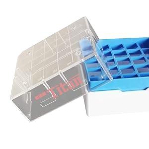 Adamas-Beta Polycarbonate Freezer Boxes,Polycarbonate CryoBox Vial Rack,Freezer Storage,5 x 5 Array, 25 Place,Fit for 0.5ml,1.0ml,1.5ml,2ml (Pack of 4)