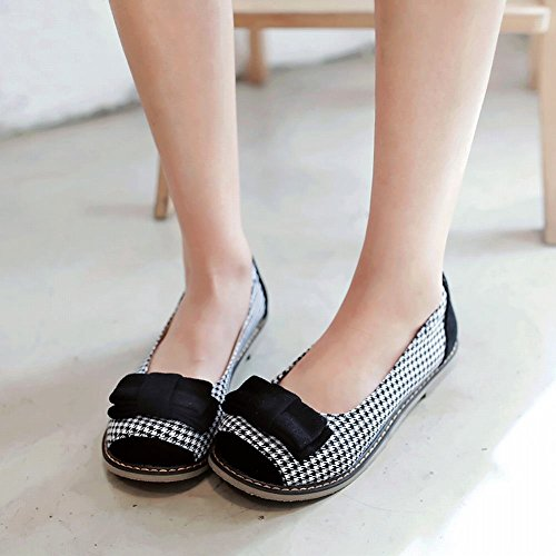 Carolbar Womens Bows Hounds-Tooth Assorted Colors Flats Shoes Black uKPomDIr