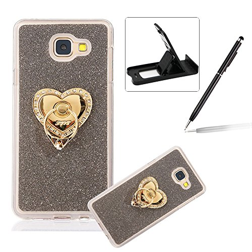 Cover for Samsung Galaxy J7 Prime,Rubber Case for Samsung Galaxy J7 Prime,Herzzer Super Slim [Gray Gradient Color Changing] Soft TPU Bling Glitter Protective Case with 360 Degree Ring Grip Holder Stand