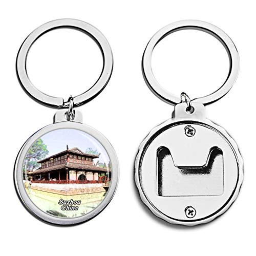 China Bottle Opener Keychain Humble Administrator's Garden Suzhou Mini Bottle Cap Opener Keychain Creative Crayon Drawing Crystal Stainless Steel Key Chain Travel Souvenirs