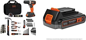beyond by BLACK+DECKER Home Tool Kit with 20V MAX Drill/Driver, 83-Piece & Extra 2.0 Ah Lithium Ion Battery (BDPK70284C1AEV & LBXR2020APB)