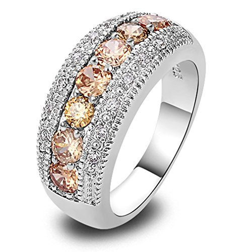 YAZILIND Morganite Round Band Crystal Silver Plated Wedding Ring For Women...