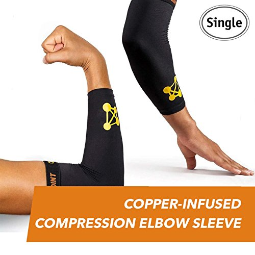CopperJoint Copper-Infused Compression Elbow Sleeve, High-Performance Design Promotes Proper Blood Flow to Help Improve Circulation and Support Healing for All Lifestyles, Single Sleeve (Small)