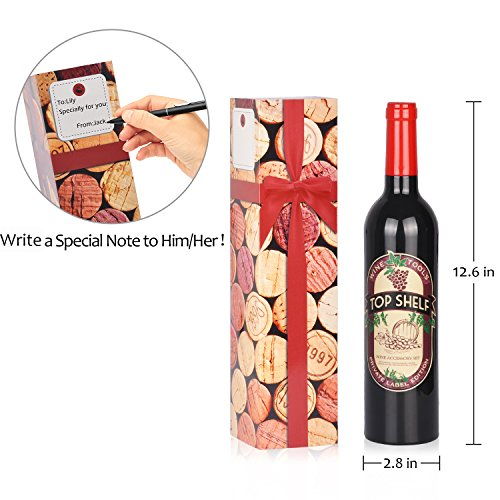Wine Accessories Gift Set - 5 Pcs Deluxe Wine Corkscrew Opener Sets Bottle Shape in Elegant Gift Box, Great Wine Gifts Idea for Wine Lovers, Friends, Anniversary by Friend of Vines (Image #3)