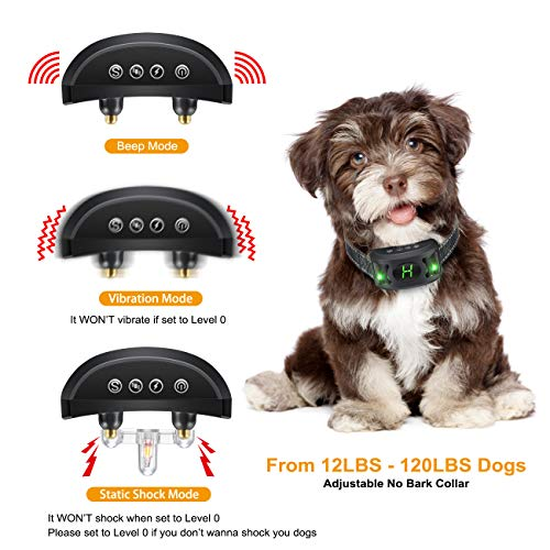 Allenker Bark Collar – Humane Dog Bark Collar with Beep Vibration Harmless Shock – No Bark Collar for Large Dogs Medium Small Dogs with Breathing Light
