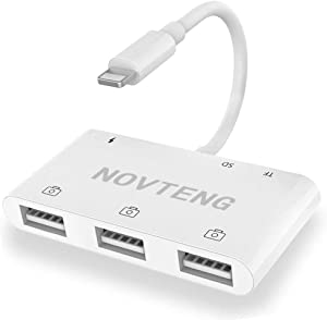 Novteng SD Card Reader for iPhone, USB Female to iPhone/iPad Adapter, 6 in 1 USB Camera Connection Kit Adapter for iPhone and iPad, Compatible with SD/Micro SD/TF Card, USB Peripherals and More.