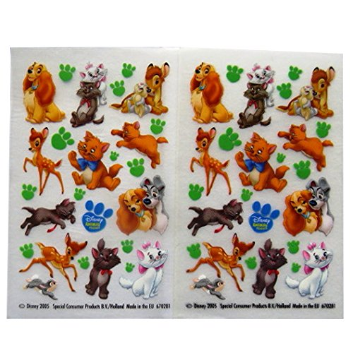Disney Animal Friends - Colourful Creative Rub on Transfer Stickers - 2 Sheets