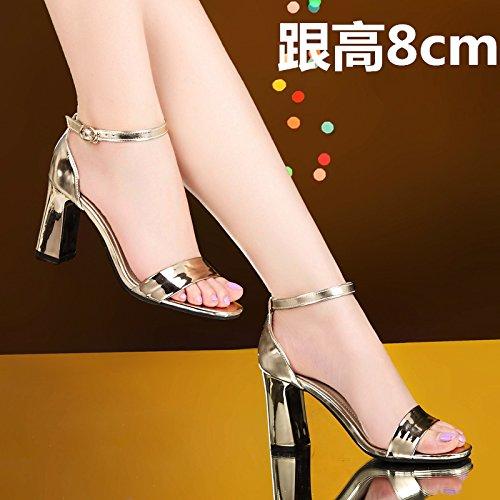 Moda Mujer verano sandalias confortables tacones altos,38 negro golden