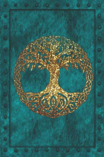 Yggdrasil Norse Tree Of Life: Norse Mythology. Tree That Connects The Worlds. Half Plain Page, Half Blank Lined Notebook. Gold Tree on Blue Iron Clad Cover.. (Christmas Tree Doodle God)
